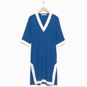 & Other Stories v-neck blue kaftan dress. Size 4